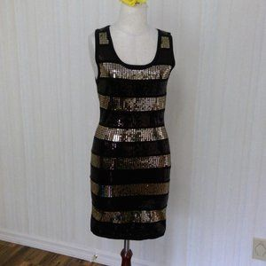 Black and gold shift dress